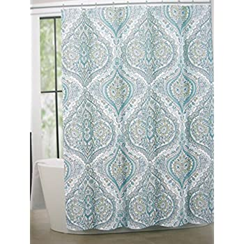 Tahari Home Cotton Blend Shower Curtain Bollington Damask 72  x 72   Turquoise blue green yellow navyAmazon com  Tahari Fabric Shower Curtain IZMIR Blue Green Yellow  . Yellow And Teal Shower Curtain. Home Design Ideas