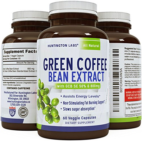 Tucker Seller Green Coffee Bean Extract for Weight Loss Dietary Supplement Maximum Strength Vitamins #1 Antioxidant Increase Drive Boost Metabolism Control Hunger for Women & Men by Huntington Labs