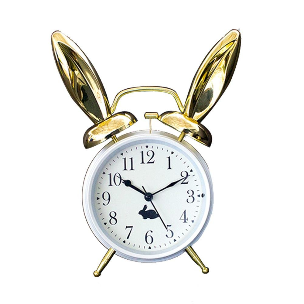 Double Bell Alarm Clock, Modern Fashion Luminous Mute Desk Clock,DXNSPF Metal Rabbit Ears Decorations Living Room Office Clock , white