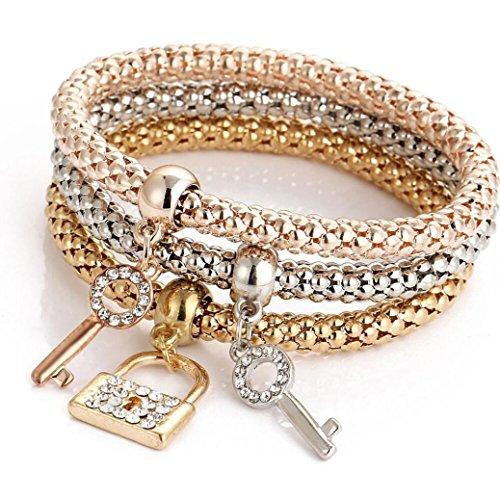 Willsa 3pcs Charm Women Bracelet Gold Silver Rose Gold Rhinestone Bangle Jewelry Set (E)