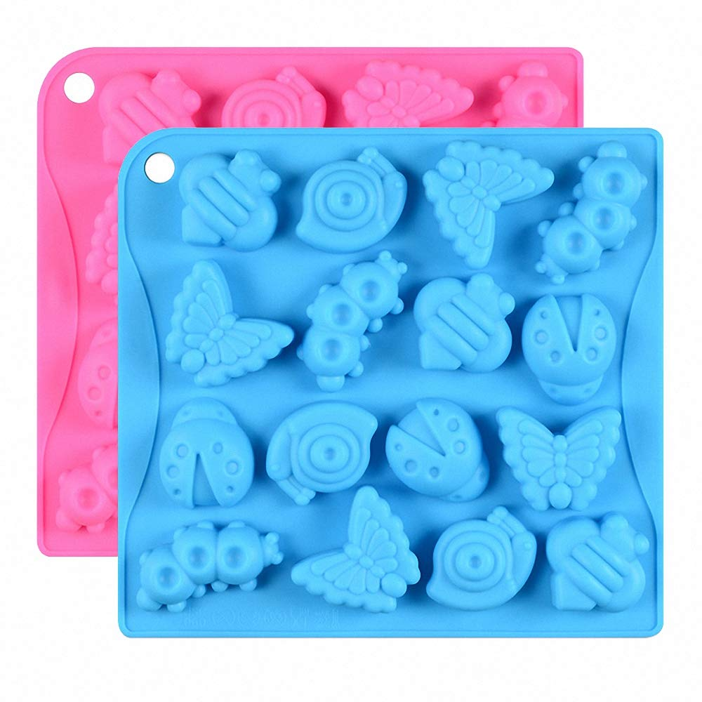2Pcs 16 Cavity Insect Silicone Molds Butterfly Snail Ladybug Bee Bug Chocolate Candy Mold Insects Crayon Wax Melt Mini Soap Mould Ice Cube Tray (Random Colors)
