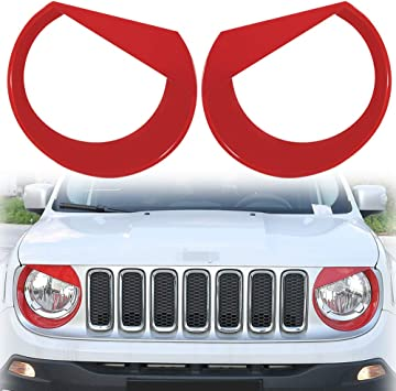 Upgrade Clip In Version E-cowlboy For Jeep Renegade 2015-2018 Front Light Headlight Bezels Cover Angry Bird Style Black