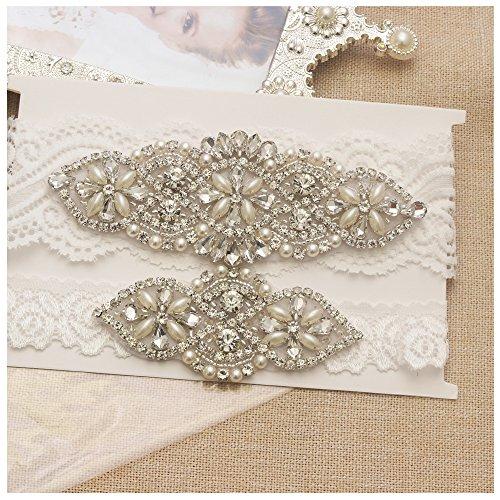 03a11062847 Galleon - Yanstar Wedding Bridal Garter Off-White Stretch Lace Bridal  Garter Sets With Silver Rhinestones Clear Crystal Pearl For Wedding