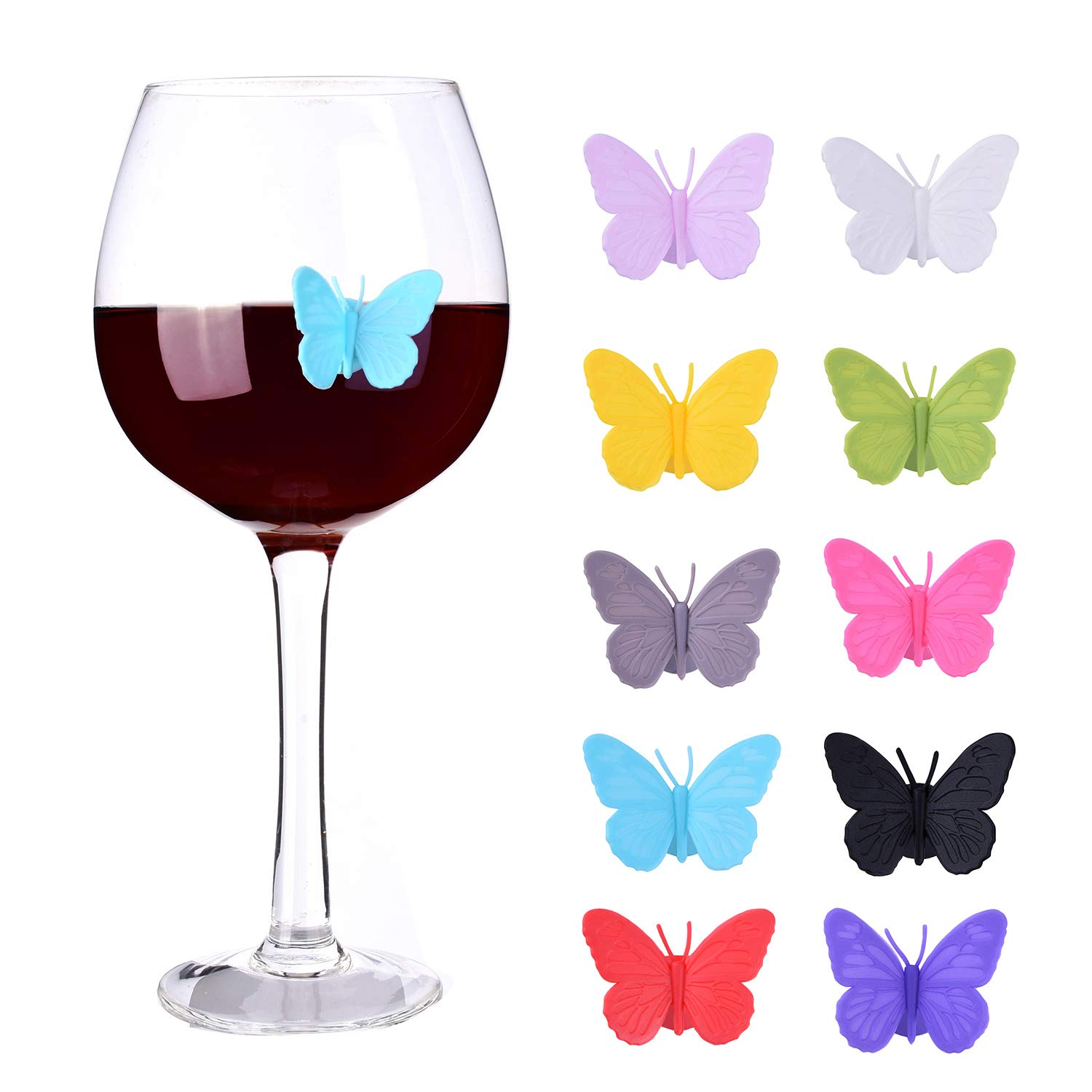 Wine Glass Charms Set of 10 Silicone Drink Glass Markers &Wine Charm Tags with Suction Cup for Stemless Glasses, Beer Mugs & More (Butterfly assorted) by ALYC (Image #1)