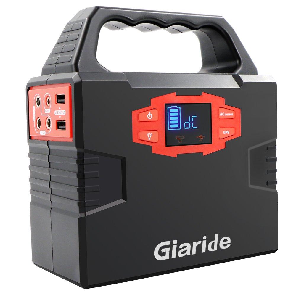Giaride 150Wh Generador de Energía Solar 220V AC 12V DC Salida USB Generador Inversor Solar Portátil Cargado por Panel Solar/Socket/Coche 40Ah Batería de Polímero Litio