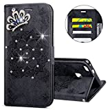 IKASEFU Huawei P10 lite Case,3D Clear Crown Rhinestone Diamond Bling Glitter Wallet with Card Holder Emboss Mandala Floral Pu Leather Magnetic Flip Case Protective Cover for Huawei P10 lite,Black