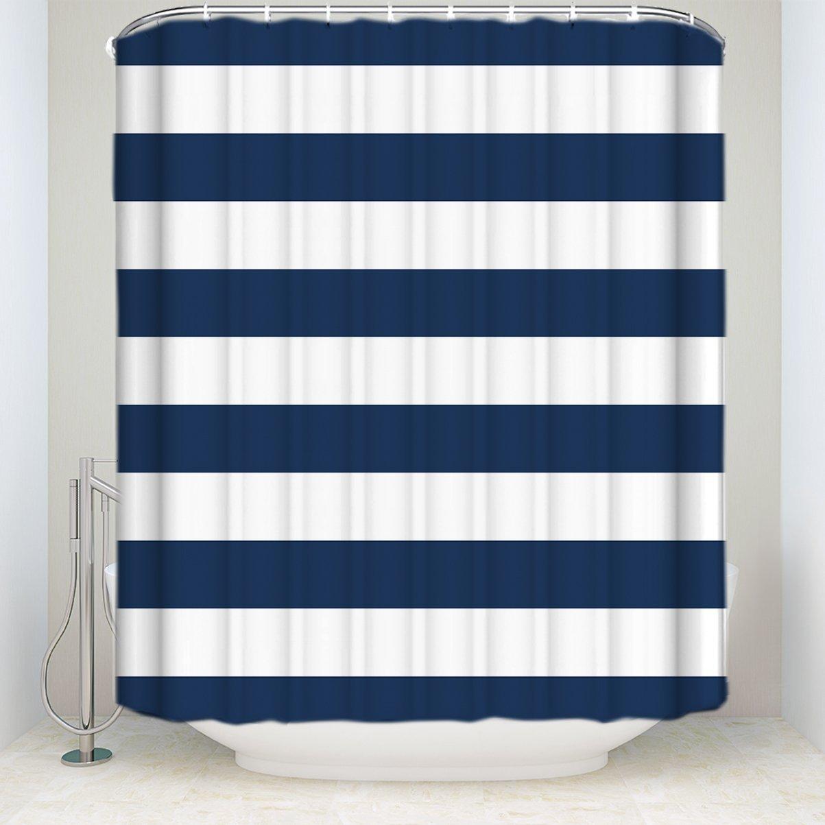 Amazon.com: Fabric Shower Curtain: Nautical Stripe Design (Navy and ...
