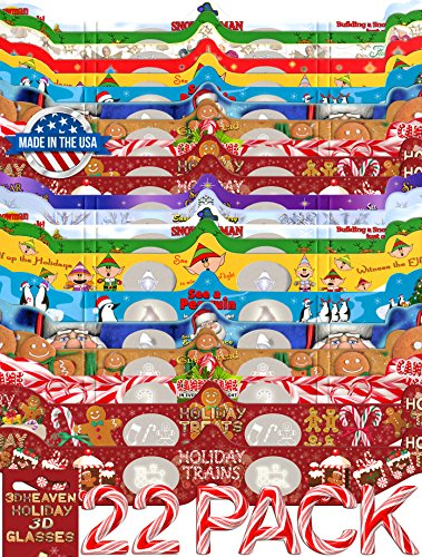 22 Pairs Holiday 3D Glasses - With Rare 3DHeaven Exclusive Styles HOLIDAY TREATS and HOLIDAY TRAINS – 13 Different! by 3DHeaven