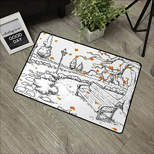 (Corridor Door mat W19 x L31 INCH Doodle,Sketch Art of a Park in Autumn Season with Maple Tree and Shedding Leaves,Black White Orange Natural dye Printing to Protect Your Baby's Skin Non-Slip Door Mat)