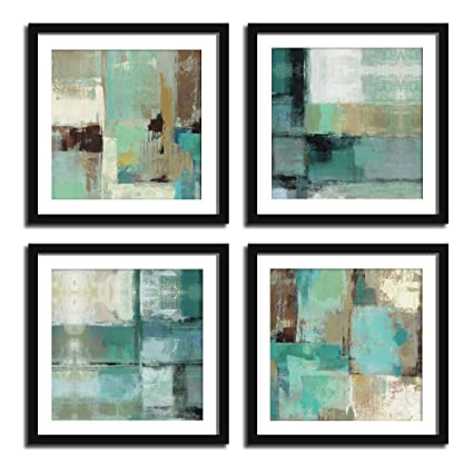 Amazoncom Modern Abstract Teal Gray And Brown Framed Wall Art