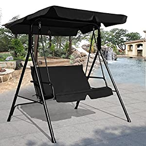COSTWAY 2 Seaters Garden Swing Chair, Outdoor Indoor Canopy Powder Coated Steel Cushioned Seaters, Patio Metal Hammock Swinging Bench Lounger Seat, 180KG (Black)
