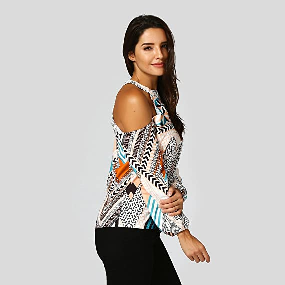 Amazon.com: Women Shirts And Blouses,Hongxin Women Off Shoulder Retro Geometry Print Choker Neck Cold Shoulder Bohemia Tops Blouses For Women Camisetas ...