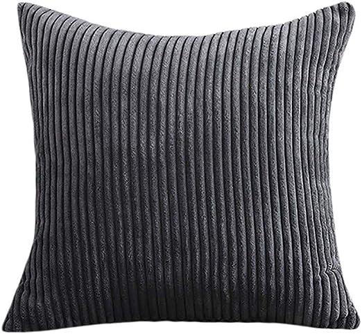 LEEDY Soft Striped Corduroy PillowCase,Square Throw Pillow