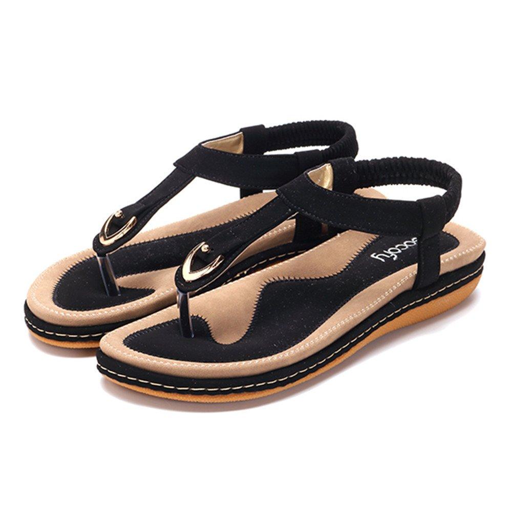 Summer Beach Flip Flops Thong T-Strap Flat Rhinestone Beads Slipper Bohemia Elastic Slip On gracosy Womens Flat Sandals