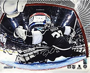 Jonathan Quick Autographed 2014 Stanley Cup Net Save Metallic 16x20 Photograph - Certified Authentic Autograph