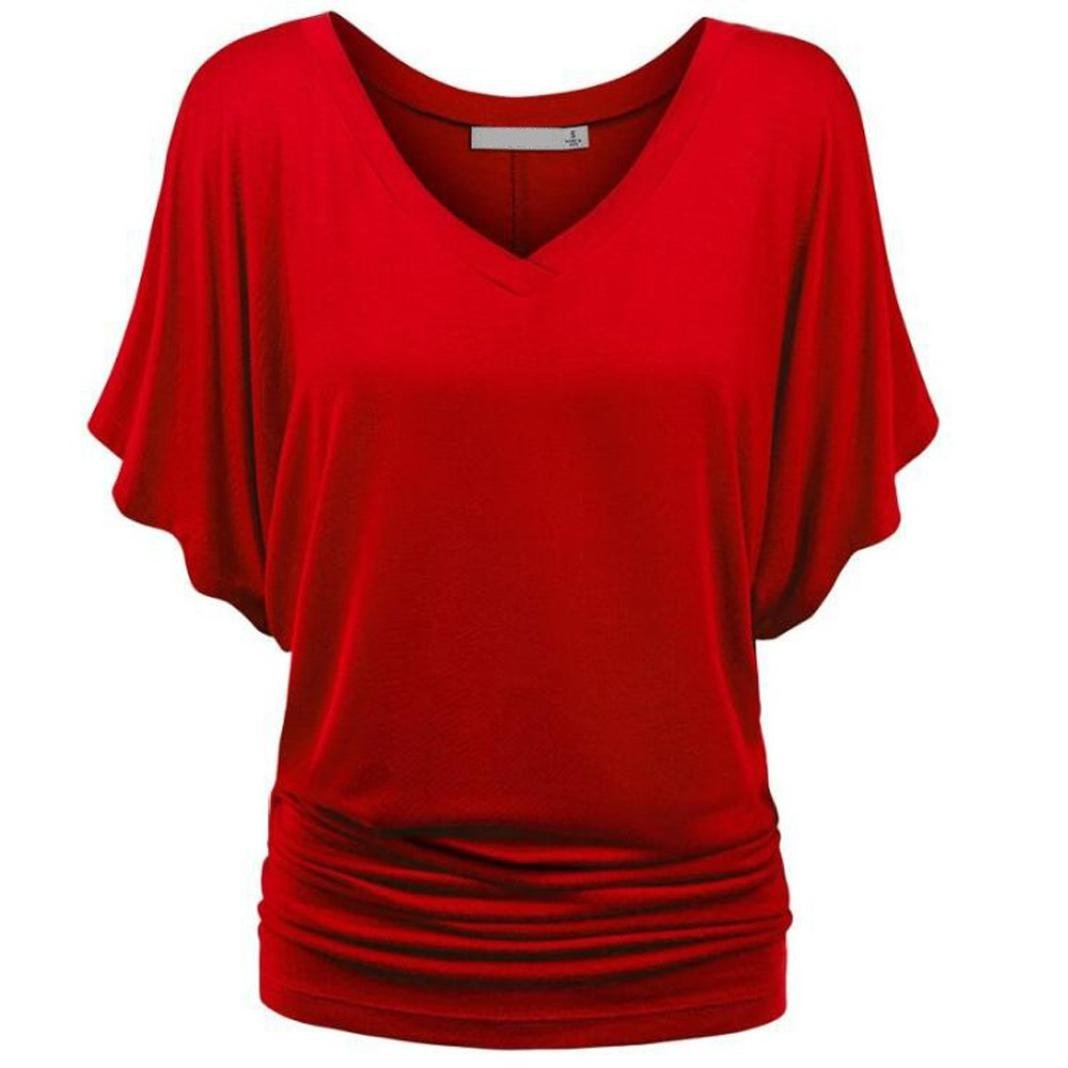 SEWORLD Damen Sommer Mode Solide Beiläufig T-Shirt Top Tiefem V-Ausschnitt Bluse Übergröße