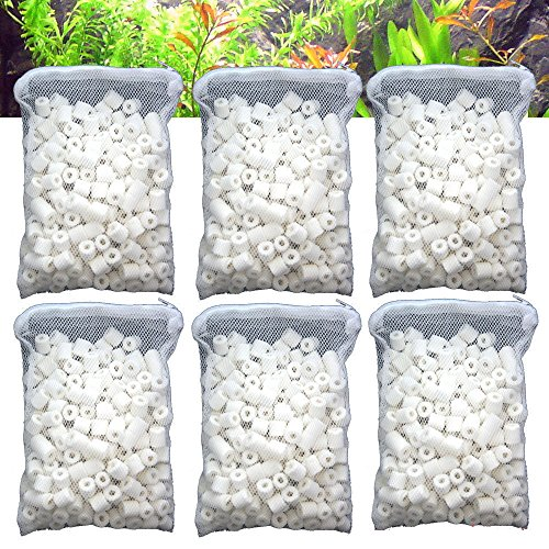 (Aquapapa Aquarium Biological Bacteria House Ceramic Rings Filter Media 6 lbs Bagged for Pond Fish Tank Canister)