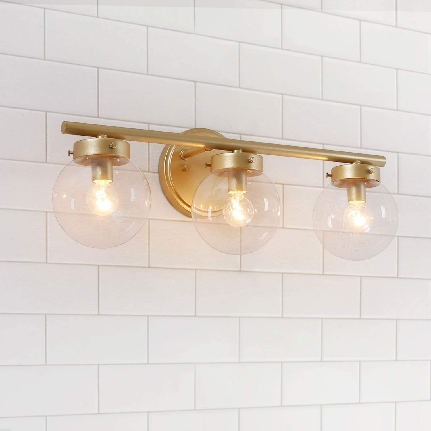 Laluz Bathroom Light Fixtures Gold Vanity Light Fixture With Clear Glass Shades L19 5 W6 H7 5 Amazon Com