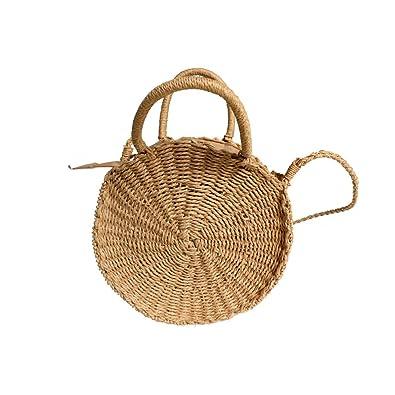 1e18deabe69b Fellibay Straw Bag Round Straw Crossbody Bag Women Handwoven Rattan ...