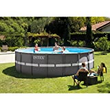 Intex 26331EH 18ft X 52in Ultra Frame Pool Set with Sand Filter Pump, Ladder, Ground Cloth & Pool Cover