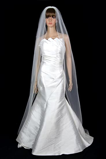 f2b892f4002f2 Image Unavailable. Image not available for. Color  Bridal Wedding Veil 1  Tier Long Chapel Length Ivory With Pencil Edge