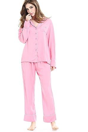 d8d051417b2e Women Pajamas Sets 2 Piece Long Sleeve Button Down Sleepwear Sleep Suits  Pink S
