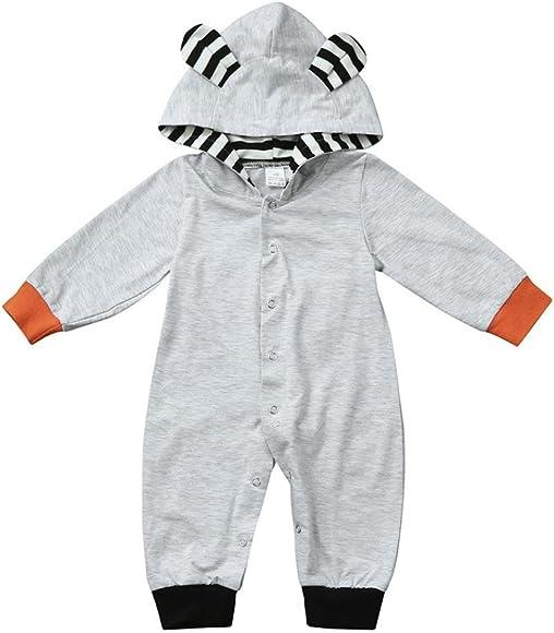 XXYsm Baby M/ädchen Overall Jungen Langarm Strampler mit Kapuze Dick Jumpsuit Cartoon Hoodie Winter Schlafstrampler