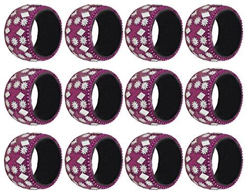 SKAVIJ Pink Decor Napkin Rings Set of 12 Round for Wedding Banquet Dinner Favor (Ring Diamond Pink Antique)