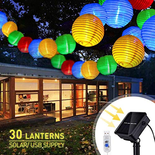Colorful Paper Lanterns 30 Pcs -Daisylily Solar Led Outdoor String Lights, USB Rechargeable, Waterproof, 8 Flashing Modes (Waterproof Paper Lanterns)