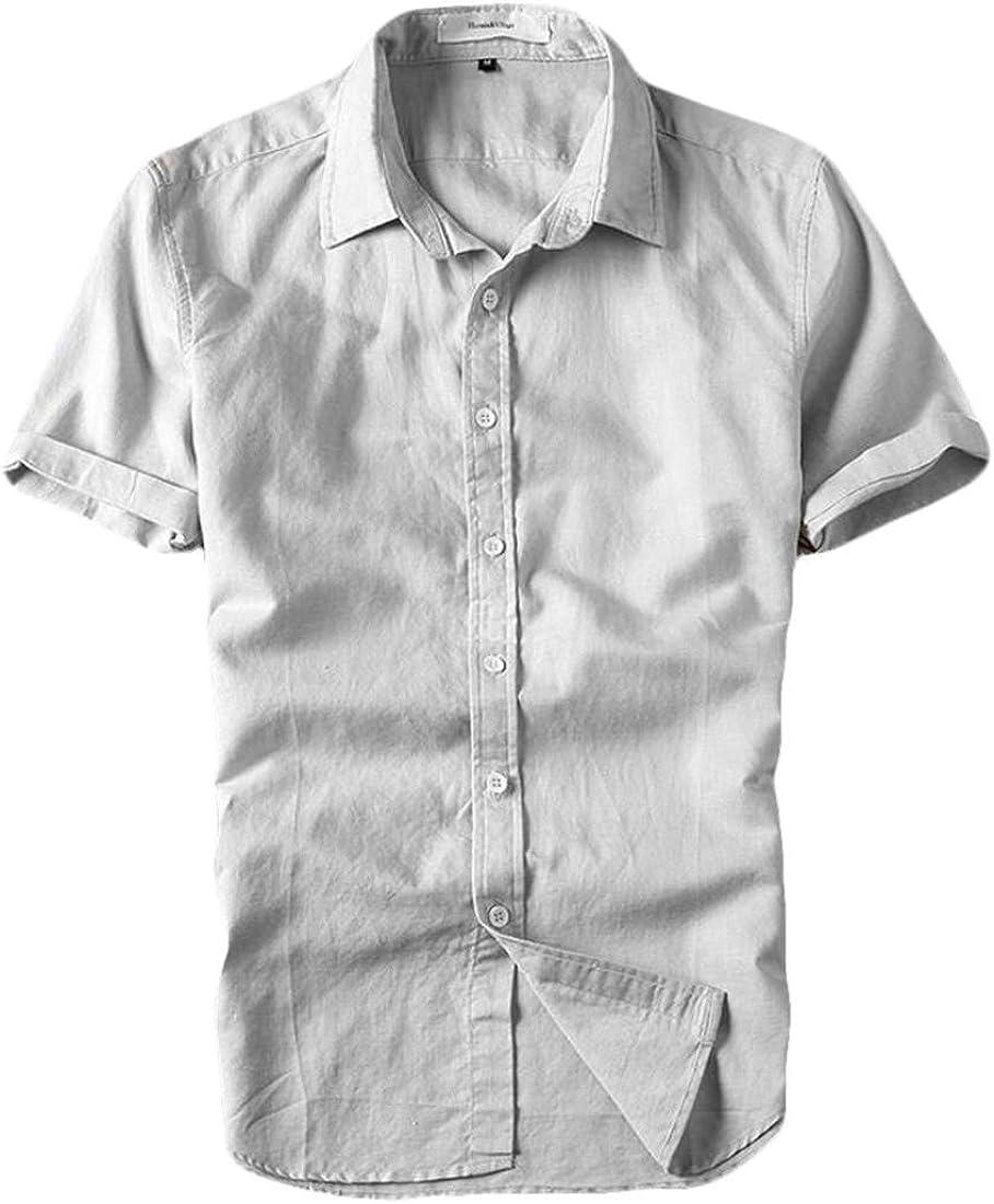 Mens Cotton Linen Shirts Beach Short Sleeve Button Up Tops Lightweight Tees Summer Blouses