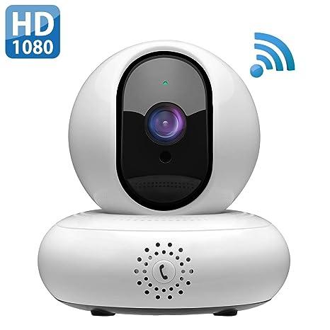 Mpow 1080P Cámara IP WiFi, Vigilancia Interior con Visión Nocturna,Llamada Inversa, Soporte