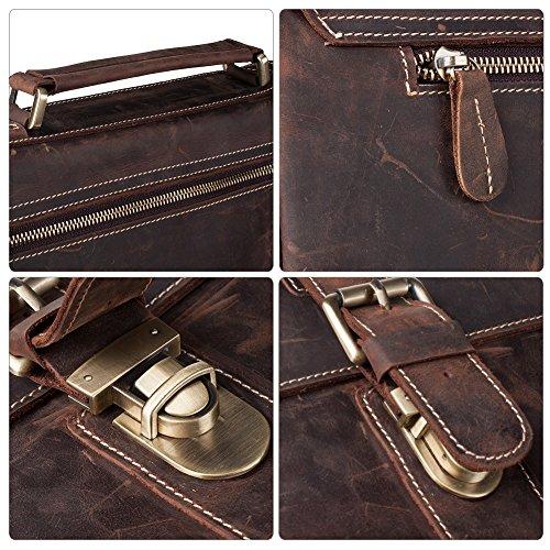 """S-ZONE Handmade Vintage Crazy Horse Leather 15.6"""" Laptop Briefcase Messenger Bag Shoulder Satchel Bag by S-ZONE (Image #4)"""
