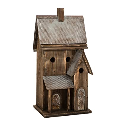 Amazon Com Glitzhome Rustic Extra Large Birdhouse With Galvanized