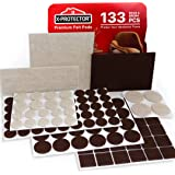 X-PROTECTOR Premium Two Colors Pack Furniture Pads 133 Piece! Felt Pads Furniture Feet Brown 106 + Beige 27 Various…