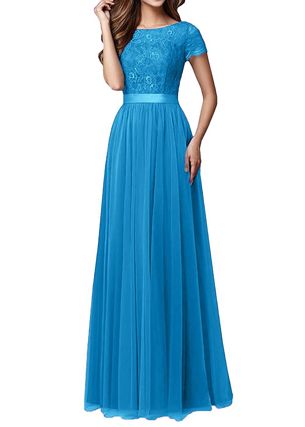 bluee Pretygirl Womens Tulle Long Bridesmaid Dress Sleeves Lace Prom Evening Dresses