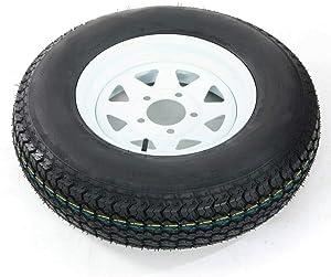 "1 Pcs Trailer Tire + Rim 13"" White Spoke Trailer Wheel With Bias ST175/80D13 Tire Mounted (5x4.5) Bolt Circle"