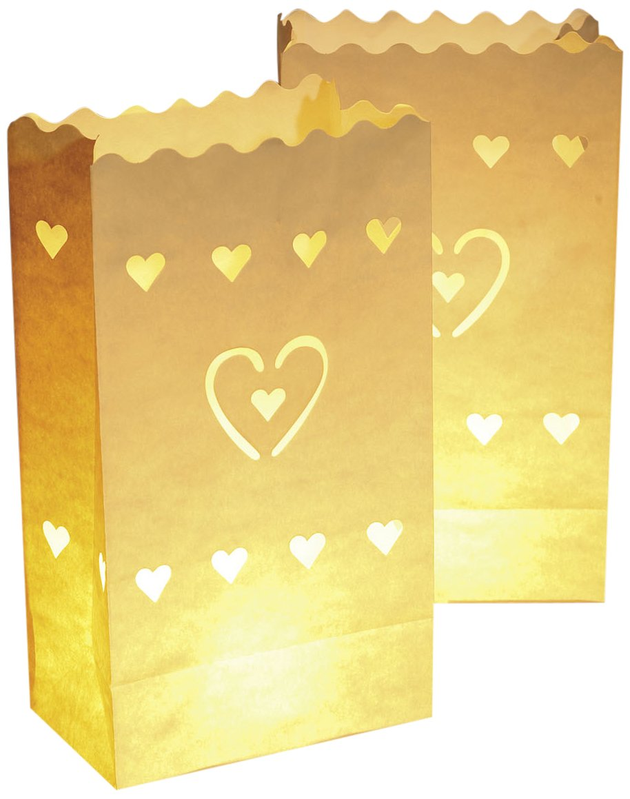 Luminaria8541100 Candle Bags Hearts big, set of 10, Cardboard/Paper/Cellulose, 15 x 26 x 9 cm, White