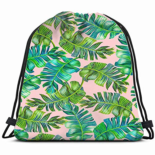 Brocade Cinch - Tropical Palm Very Detailed The Arts Leaf Drawstring Backpack Bag For Kids Boys Girls Teens Birthday, Gift String Bag Gym Cinch Sack For School And Party