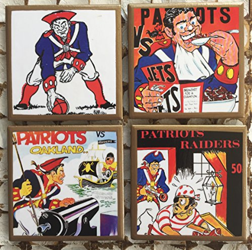- New England throwback program cover coasters with gold trim