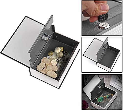 OurLeeme Inglés Diccionario Libro de Seguridad en Forma de Lock-up Monedas de Almacenamiento Caja de Dinero Piggy Bank con Claves: Amazon.es: Hogar