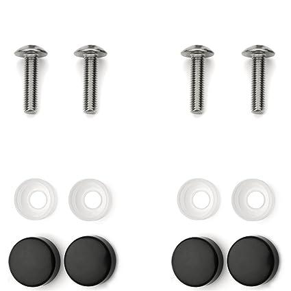 Stainless Steel License Plate Frame Screws Fasteners + Black Screw Caps Set  (4) M5x20 Import