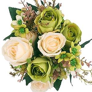 SOLEDI Artificial Flowers 12 Heads Lifelike Autumn Xiangshan Rose For Wedding Home Bar Decor 112
