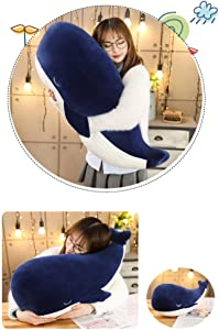 Yuege Very Soft Whale Blue Shark Stuffed Animal, Big Hugging Pillow Plush Cartoon Doll Fish Plush Toy, Gifts for Girls, Friends, Kids …(45cm(17.7 inch))