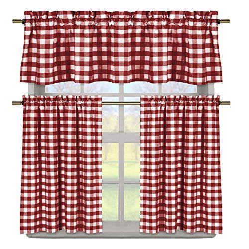 Duck River Textile Buffalo Plaid Gingham Checkered Premium Cotton Blend Kitchen Curtain Tier & Valance Set, Burgundy Red & White