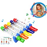 Pack of 5 Water Flutes Whistles Music Sheets Musical Bath Time Colorful Toy Tub Tunes Songs