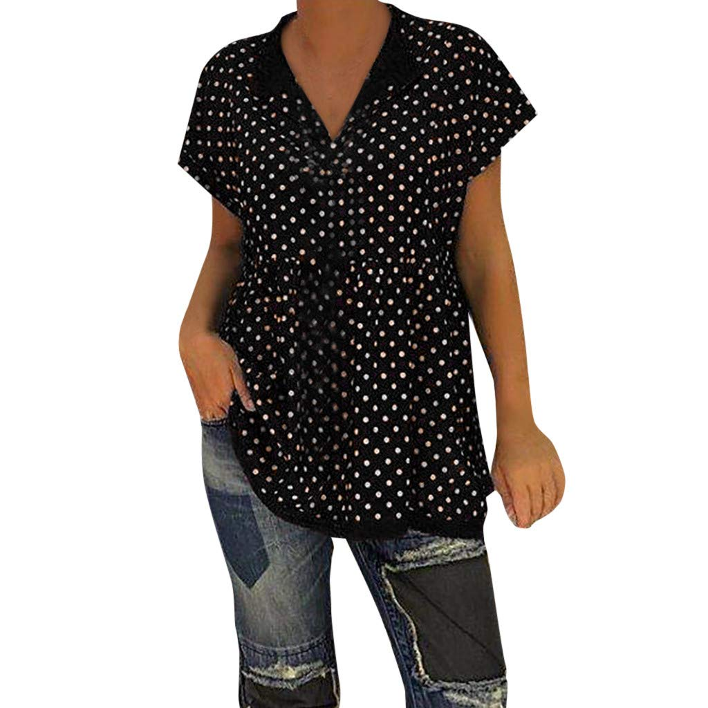 Tops for Women Casual V Neck Short Sleeve Polka Dot Print Shirts Soild Loose Blouse (S, Black)
