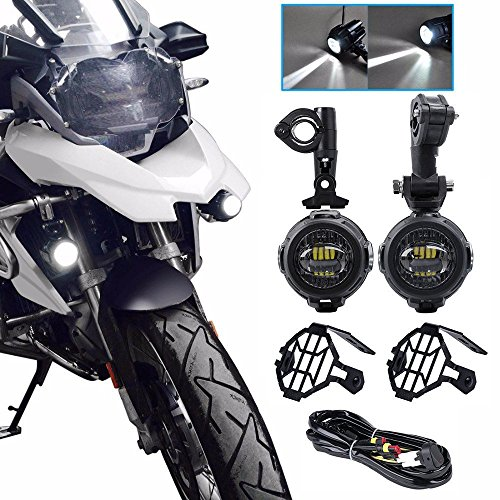 BUNKER INDUST BMW Motorcycle Auxiliary Lights, LED Headlight Angel Eyes Daytime Running Lights High/Low Beam Replacement for BMW R1200GS/ADV (Auxiliary Lamp Kit for BMW)