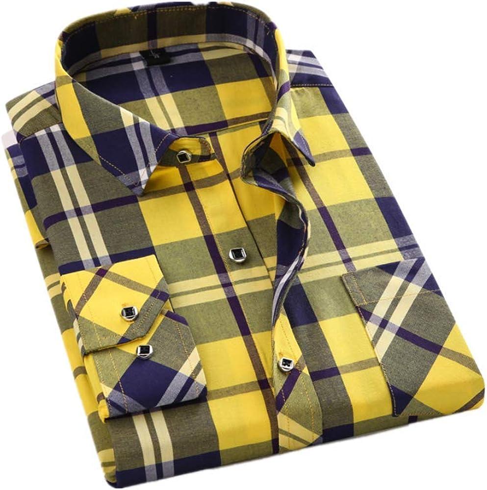 YUHUALI Camisas de Hombre Camisas de Hombre de Moda Camisa de algodón a Cuadros Casual Hombre Amarillo 01 42: Amazon.es: Ropa y accesorios