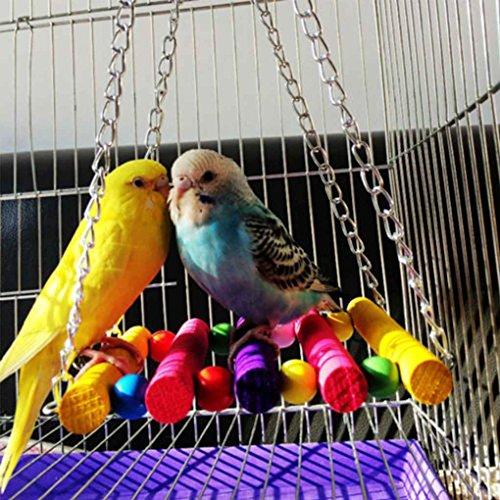 Parrot Hanging Hamac Bois Perruche Cage Mâcher du LUFA Cockatiel Swing Balançoire Perruche Couleur Oiseau Inséparables Jouet FEUqwYwd