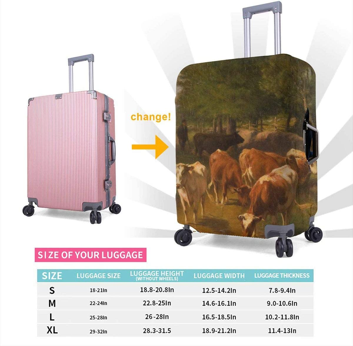 Yuotry Travel Luggage Cover Cattles Graze Zipper Suitcase Protector Luggage with Fixed Buckle Fits 18-32 Inch Luggage XL